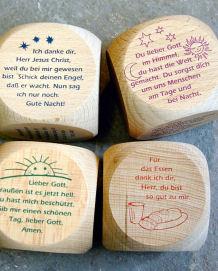 Originelles Geschenk für die Erstheilige Kommunion:Gebete für Kinder auf Würfeln aus Holz