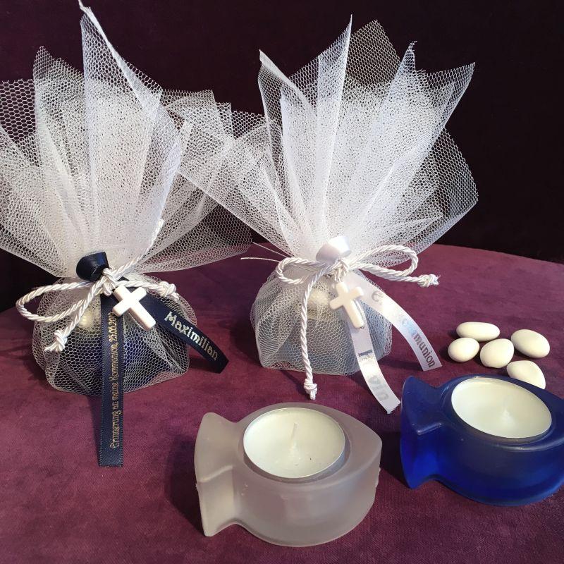 Tischdekoration und Gastgeschenk zur Erstkommunion, Firmung, Konfirmation mit Fisch Teelicht