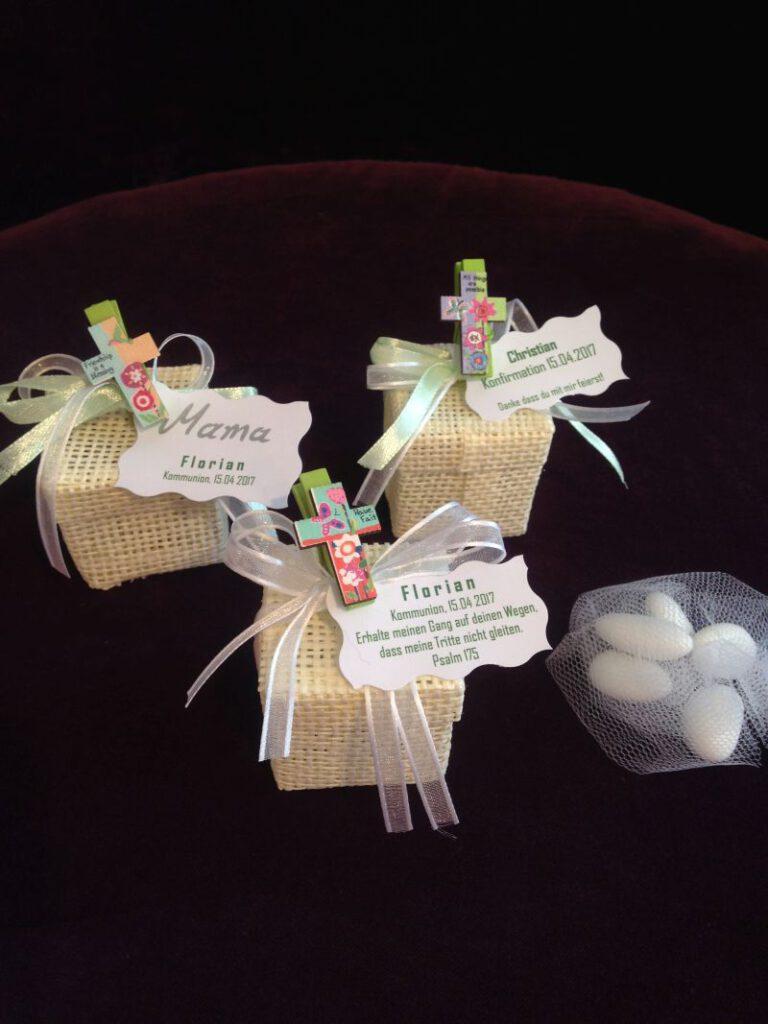 Bonboniere und Tischkarten zur Kommunion, Konfirmation