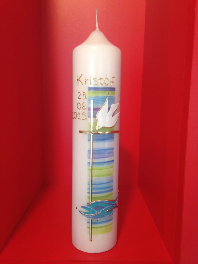Kerzen zur Taufe, Taufkerzen mit Beschriftung
