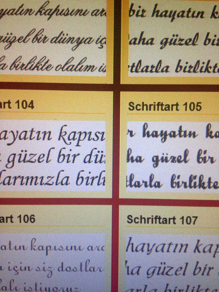 Text und Druckbearbeitung der Karten;Schriftart