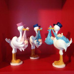 Niedliche Figuren mit Storch und Baby zur Geburt Babyparty oder Babyshower!