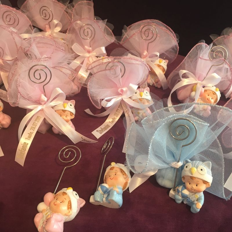 Bonboniere zur Taufe mit Baby Puppe-Bilderhalter
