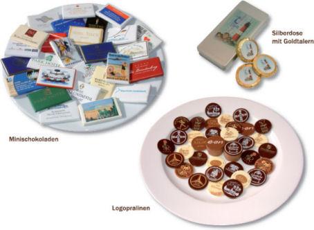 Schokolade und Pralinen mit Logo in individueller Verpackung, Werbegeschenke