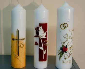 Kerzen, rund, für den Hochzeitstisch