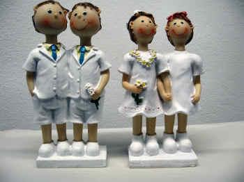 Homofiguren als Dekoration für die Hochzeitstorte, Männer und Frauen