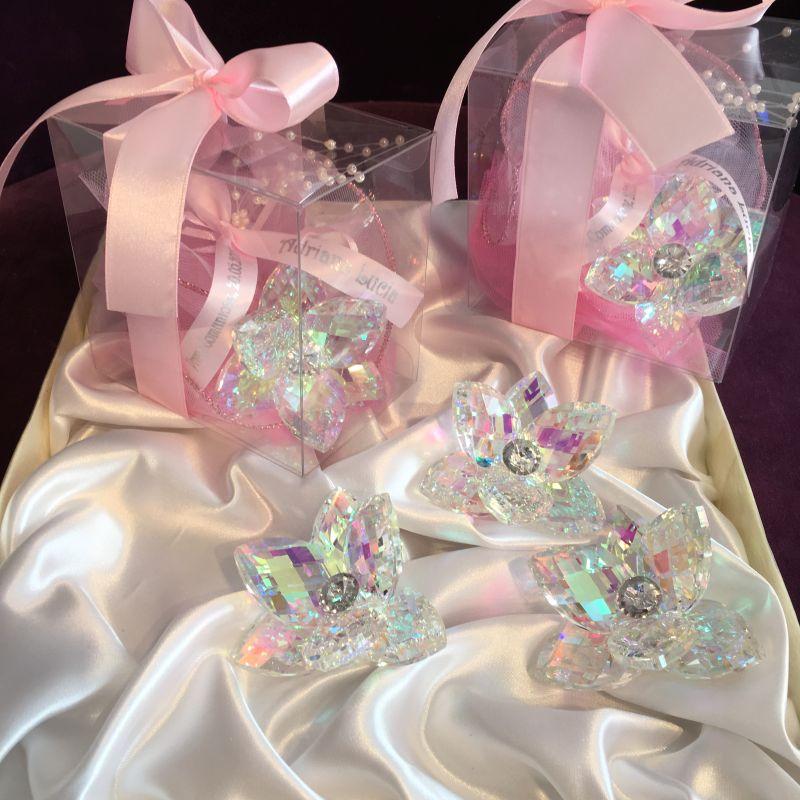 Wunderschöne Bonboniere zur Taufe mit Krystall Seerose