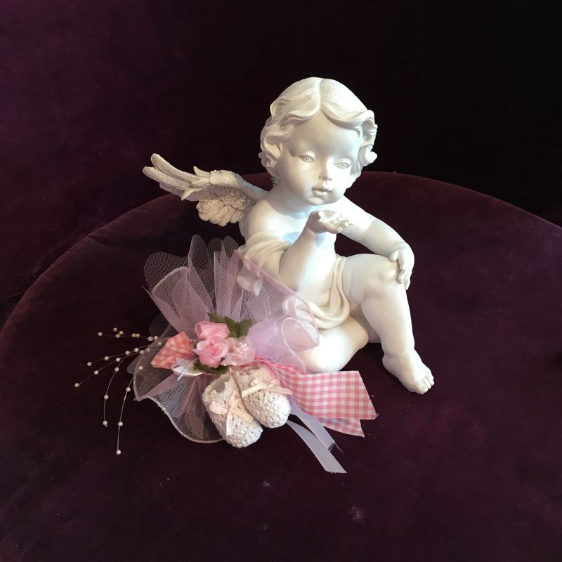 Taufgeschenk für die Paten mit Engelfigur und hübshc dekoriert!