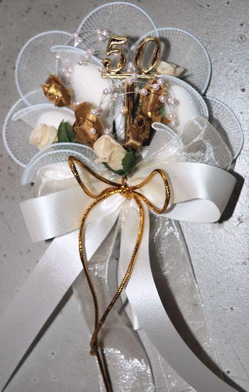 Bonboniere zur Goldenen Hochzeit mit goldenem Blumen und 50
