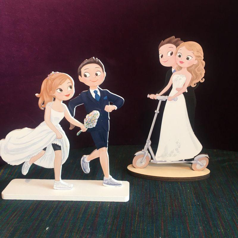 Brautfiguren mit Joggen oder Elektroroller Brautfiguren