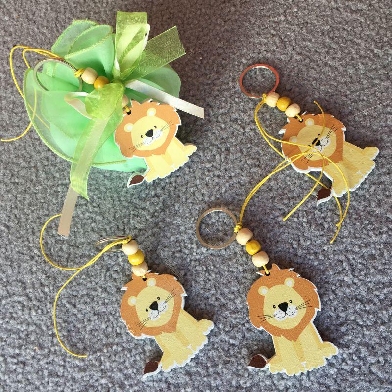 Bonboniere mit Löwen Schlüsselanhänger zur Taufe, Geburtstag