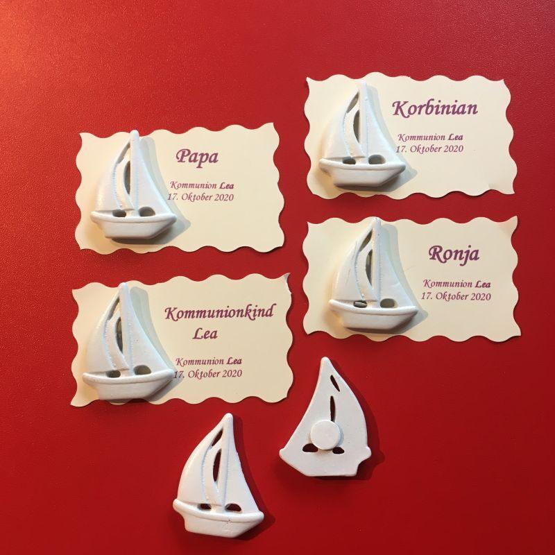 Tischkarten/Namenskarten mit Segelboot zur Hochzeit Taufe Kommunion Konfirmation Firmung