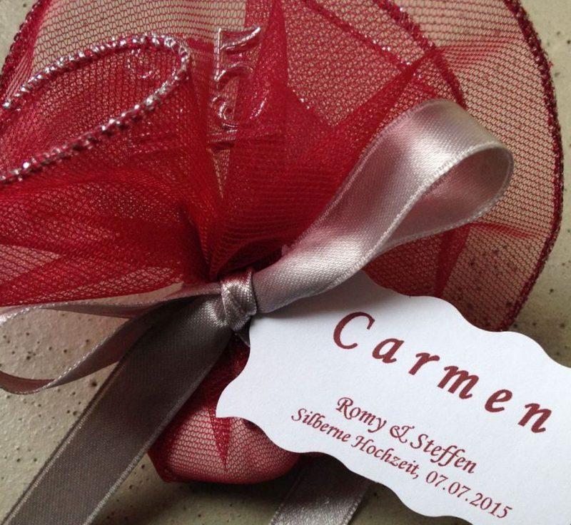 Bonboniere als Tischdekoration zur Hochzeit oder silberne Hochzeit!