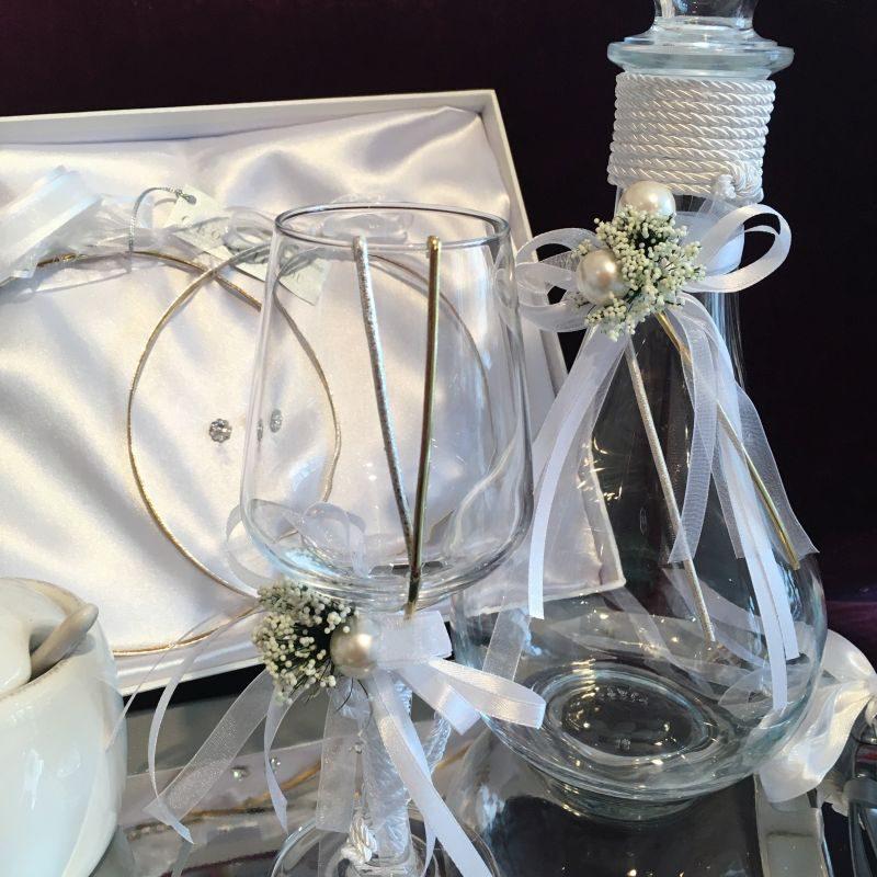 Karaffe,Wein Glas, Tablett, Stefana Set zur griechsiche Hochzeit
