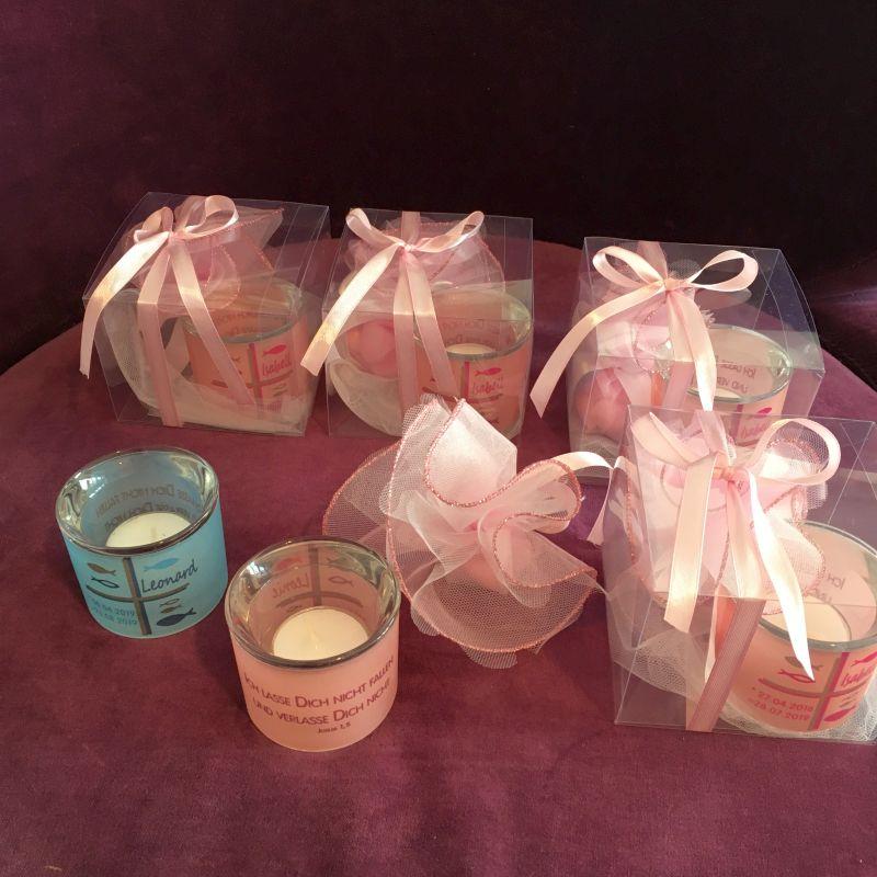 Personalisierte Bonboniere Teelicht aus Glass zur Taufe!